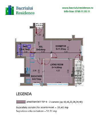 2 camere 52mp Bacriului Residence Militari-stiri